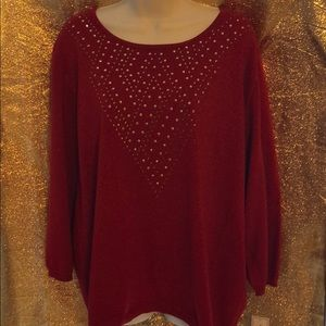 NWT Alfred Dunner red, embellished sweater